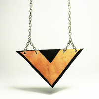 Leather Chevron Triangle Necklace - Geometric Statement Jewelry - Made in America