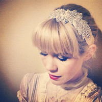 Ma Rainey 1920s Great Gatsby Swarovski Crystal & Silk Headband/ Belt/Sash-Vintage Wedding-Bridal-Hair- the Great Gatsby