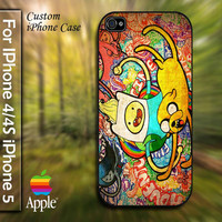 Adventure Time Graffiti Custom Apple Phone Hard Cover Plastic for iPhone 4/4s and Also iphone 5 Case