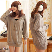 New Chic Girl Batwing V-neck Hooded Hoodies T-shirts Tops Blouse Solid Fashion