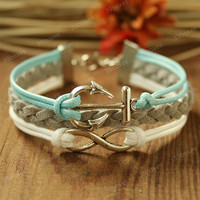Anchor Bracelet - infinity bracelet  with anchor charm, Fabulous Valentine&#x27;s gift, mint anchor bracelet for girlfriend and BFF