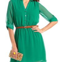Roll-Cuff Chiffon Shirt Dress: Charlotte Russe