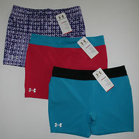 Under Armour Women&#x27;s Fitted Heatgear Shorts Pink Teal Purple 1237412 New