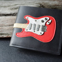 Men Wallet Fender Strat Guitar &amp; Red Color leather