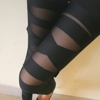 Sexy Black Bundle Pattern Leggings on Luulla