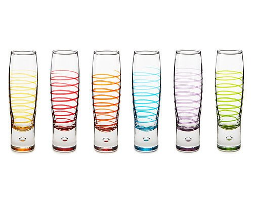 BUBBLE FLUTES - SET OF 6 | Stemware, Barware, Bowl, Cup, Liquor, Italian, Festive, Colorful, Red, Purple, Green | UncommonGoods