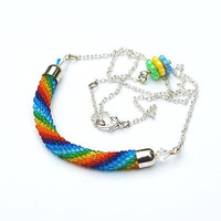 Rainbow Crocheted Necklace