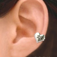 925. Equal Love Heart - Sterling silver ear cuff earring jewelry, non pierced earcuff,  012313