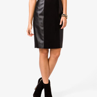 Paneled Faux Leather Skirt