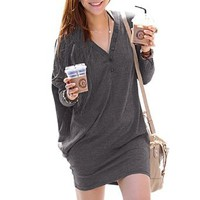 Amazon.com: Allegra K Lady Button Decor V Neck Loose Pullover Blouse Dark Gray Size M: Clothing
