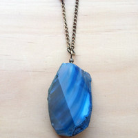 Twisted Royal Blue Agate Long Necklace