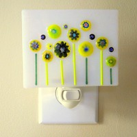 Art Glass Night Light, Yellow and Blue Murrini Flowers on White, OOAK