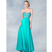 2013 Prom Dresses - Jade Chiffon Strapless Gown - Unique Vintage - Cocktail, Pinup, Holiday & Prom Dresses.