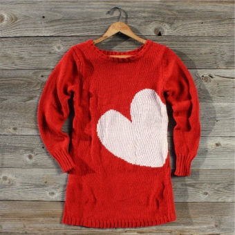 Threaded Hearts Sweater in Red, Sweet Country Women's Clothing