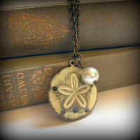 Creamy Antique White Sand Dollar Brass Necklace by SovereignSea