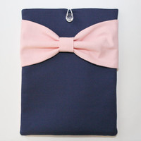 MacBook Pro / Air, Computer Sleeve - Colorblock Navy with Pink Bow and Pocket - Double Padded