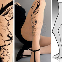 sexy Oh Deer tattoo tights / stockings/ full length / pantyhose / nylons LIGHT MOCHA