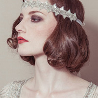 Delores - Deco beaded Great Gatsby/Downton Bridal wedding headband forehead band