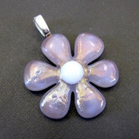 Lilac Sachet Purple Glass Flower Pendant by mysassyglass