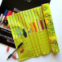 Pencil Roll-Up, Art Organizer Roll, Yellow Floral Organizer