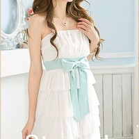 Oh My! Fashion  Strapless Chiffon Dress with Ribbon