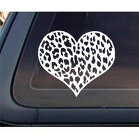 Leopard Print Heart Car Decal / Sticker - White : Amazon.com : Automotive