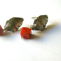 Coral Ear Studs Oxidised Sterling S.. on Luulla