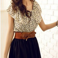 Oh My! Fashion — Polka Dot Chiffon Dress with Belt