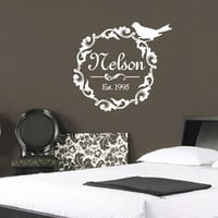 Family Name Damask Wreath With Bird Wall Decal - Custom Name with Estabilshed Year Wall Decal - Personalized Vinyl Wall Decal Frame 3 22256