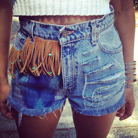 Turquoise Beaded Fringe High Waisted Shorts