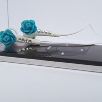 Beautiful  Peacock Blue Rose earbuds with Swarovski Crystals