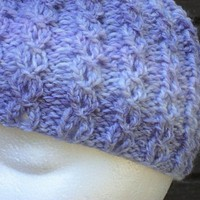 Purple Mock Cable Beanie Ready to Ship by SunshineRoseDesign