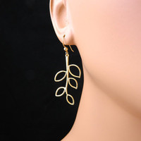 Gold Leaf  Earrings Dangle earrings Wedding by DanglingJewelry