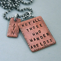 Tolkien Quote Necklace Hand Stamped Copper by MadamePoindextra