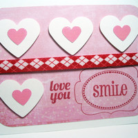 Handmade Valentine Card Pink Hearts by MissTanDesigns on Etsy