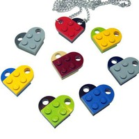 Crazy Heart Necklace made from Genuine Lego Heart by MoLGifts