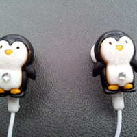 Penguin earbuds Are back in stock by HoneyBadgerBuds on Etsy