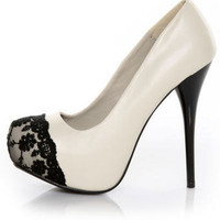 Swarovski Crystal  Black &amp; Ivory Lace Platforms  by UniqueHeelz
