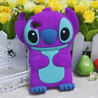 Purple 3D Stitch Silicone Soft Cover Case For For Apple iPod Touch 4 /4G
