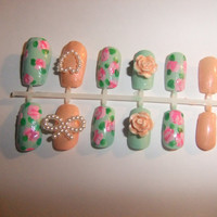 Mint green shabby chic vintage pink princess False/Fake Full cover Nails with 3D pearl bows and hearts lolita