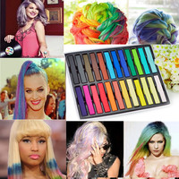 6/12/24/36 Color Non-toxic Temporary Salon Kit Pastel Square Hair Chalk With Box