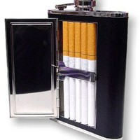 Amazon.com: 6 oz. Flask with Built in Cigarette Case (For King Size &amp; 100&#x27;s): Health &amp; Personal Care