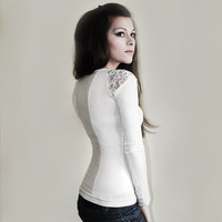 Ivory Blouse with romantic lace details custom