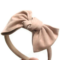 Pastel pink suede bow headband
