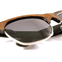 Walnut Wood Veneer Clubmaster Sunglasses // The Original Handcrafted Wooden Faced Sunglasses Clubmaster