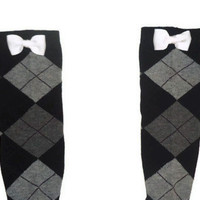 One Size White Bow Plaid Print Knee High Womens Socks