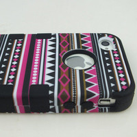 3-Piece Hybrid High Impact Case Tribal Tribe Black Silicone For iPhone 4 4S 4G