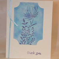 Monochromatic Blue Floral Thank You Card w/Ribbon