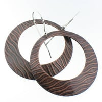 Large Copper Earring Hoops of Water