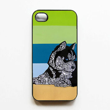 iPhone 4 Case  Husky Zentangle Art by MayhemHere on Etsy